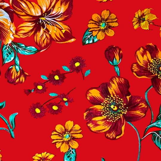 Tecido Chita Floral Narbona - Vermelho - 100% Algodão - Largura 1,40m