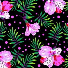 Tecido Chita Floral Nice - Preto - 100% Algodão - Largura 1,40m