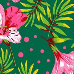 Tecido Chita Floral Nice - Verde - 100% Algodão - Largura 1,40m