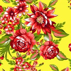 Tecido Chita Floral Nimes - Amarelo - 100% Algodão - Largura 1,40m