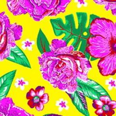 Tecido Chita Floral Pisa - Amarelo - 100% Algodão - Largura 1,40m