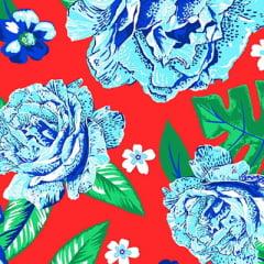 Tecido Chita Floral Pisa - Vermelho - 100% Algodão - Largura 1,40m