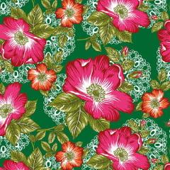 Tecido Chita Floral Taormina - Verde - 100% Algodão - Largura 1,40m