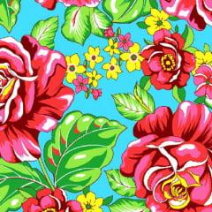 Tecido Chita Floral Tours - Azul - 100% Algodão - Largura 1,40m