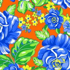 Tecido Chita Floral Tours - Laranja - 100% Algodão - Largura 1,40m