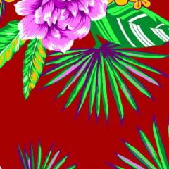 Tecido Chita Floral Versalhes - Vinho - 100% Algodão - Largura 1,40m