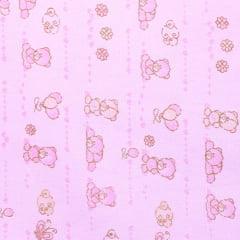 Tecido Flanela Baby - Ursinhas e Balões - Rosa - 100% Algodão - Largura: 80cm