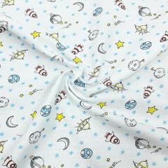 Tecido Flanela Estampa Infantil - Espaço Sideral - Fundo Branco - 100% Algodão - Largura: 80cm