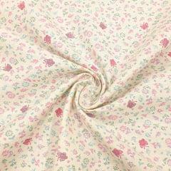 Tecido Flanela Estampa Infantil - Floral Borboletas - Fundo Marfim - 100% Algodão - Largura: 80cm