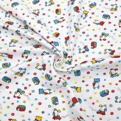 Tecido Flanela Estampa Infantil - Little Dog - Fundo Branco - 100% Algodão - Largura: 80cm