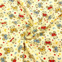 Tecido Flanela Estampa Infantil - Ursinhos - Fundo Amarelo - 100% Algodão - Largura: 80cm