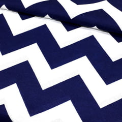 Tecido Gorgurinho Decor Light Basic - Chevron Azul Marinho e Branco - 100% Poliéster - Largura 1,40m