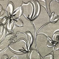 Tecido Gorgurinho Decor Light Basic - Flores Cinza - 100% Poliéster - Largura 1,40m