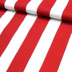 Tecido Gorgurinho Decor Light Basic - Listras Vermelhas - 100% Poliéster - Largura 1,40m