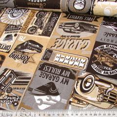 Tecido Jacquard Decor - Garagem - Palha - 58% Algodão 42% Poliéster - Largura 1,40m