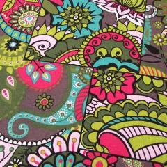 Tecido Jacquard Decor - Mosaico Colorido - Verde - 58% Algodão 42% Poliéster - Largura 1,40m