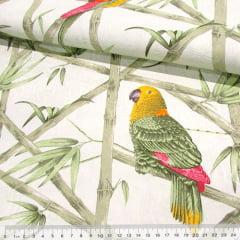 Tecido Jacquard Decor - Papagaios Natureza - 58% Algodão 42% Poliéster - Largura 1,40m