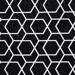 Tecido Jacquard Decor - Geométrico Reto - Preto - 58% Algodão 42% Poliéster - Largura 1,40m