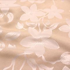 Tecido Jacquard Decor Largo Brocado Dupla Face - Floral Nubia - Bege - 55% Algodão 45% Poliéster - Largura 2,80m