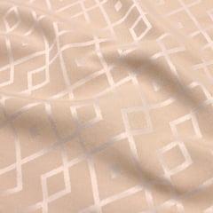 Tecido Jacquard Decor Largo Brocado Dupla Face - Geometria Stripe - Bege - 55% Algodão 45% Poliéster - Largura 2,80m