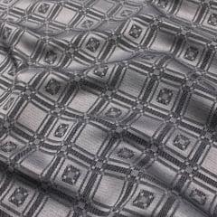 Tecido Jacquard Decor Largo Brocado Dupla Face - Molduras Geométricas - Silver - 55% Algodão 45% Poliéster - Largura 2,80m