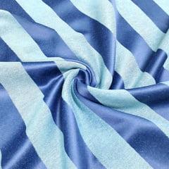 Tecido Jacquard Decor Largo Brocado - Listras 4,5 cm - Azul Tons Acetinado - 55% Algodão 45% Poliéster - Largura 2,80m