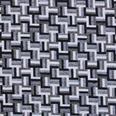Tecido Jacquard Decor Soft - Blocos - Preto - 58% Algodão 42% Poliéster - Largura 1,40m