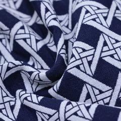 Tecido Jacquard Decor Soft Dupla Face - Entrelaçado - Azul Marinho - 58% Algodão 42% Poliéster - Largura 1,40m