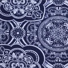 Tecido Jacquard Decor Soft Dupla Face - Mandala - Azul Marinho - 58% Algodão 42% Poliéster - Largura 1,40m