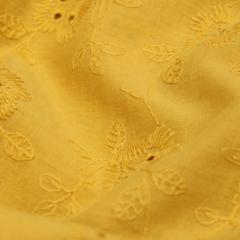 Tecido Lese Bordada Margaret - Amarelo Torrado - 100% Algodão - Largura 1,35m