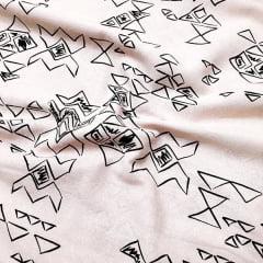 Tecido Linho Com Algodão Estampado - Geométrico - Rosa Claro - 85% Algodão 15% Linho - Largura 1,35m