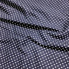 Tecido Linho Com Algodão Estampado - Poá - Azul Marinho - 85% Algodão 15% Linho - Largura 1,35m