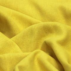 Tecido Linho Com Viscose Liso - Amarelo Gema - 55% Linho 45% Viscose - Largura 1,35m