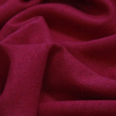 Tecido Linho Com Viscose Liso - Vermelho Escuro - 55% Linho 45% Viscose - Largura 1,35m