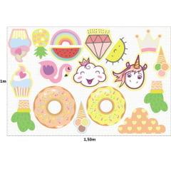 Tecido Tricoline Digital Molde Naninhas - Girls Candy Colors - 100% Algodão - 1m x 1,50m