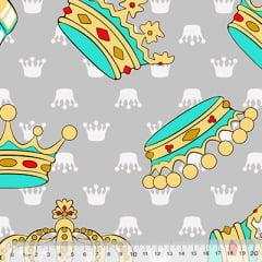 Tecido Percal 130 Fios Coroas - Azul - 100% Algodão - Largura 2,45m
