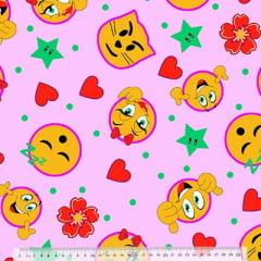 Tecido Percal 130 Fios Emoticons - Fundo Rosa - 100% Algodão - Largura 2,45m