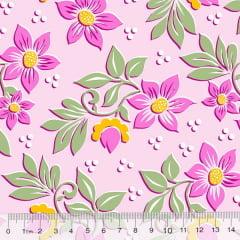 Tecido Percal 130 Fios Jardim de Flores - Rosa - 100% Algodão - Largura 2,45m