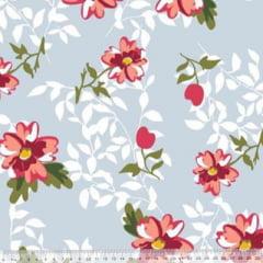 Tecido Percal 230 Fios Estampado - Coleção Floral Ref 13 - 100% Algodão - Largura 2,50m