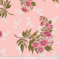 Tecido Percal 230 Fios Estampado - Coleção Floral Ref 16 - 100% Algodão - Largura 2,50m