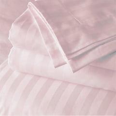 Tecido Percal 400 Fios Egípcio Maquinetado - Listras Rosa Claro - 100% Algodão - Largura 2,80m