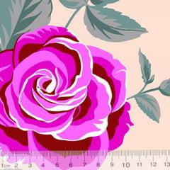 Tecido Percal 130 Fios Floral Aroma - Rosa - 100% Algodão - Largura 2,45m
