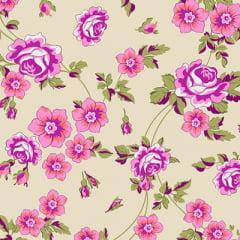 Tecido Percal 130 Fios Floral Duque - Bege - 100% Algodão - Largura 2,45m