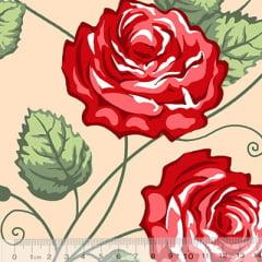 Tecido Percal 130 Fios Floral Luxo - Bege - 100% Algodão - Largura 2,45m