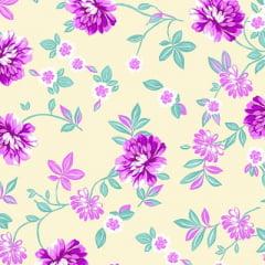 Tecido Percal 130 Fios Floral Maestro - Bege - 100% Algodão - Largura 2,45m
