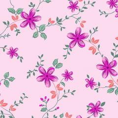Tecido Percal 130 Fios Floral Manhã - Rosa - 100% Algodão - Largura 2,45m