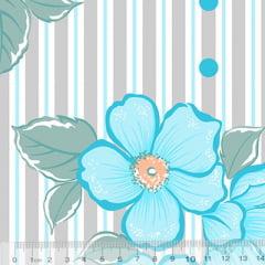 Tecido Percal 130 Fios Floral Refina - Azul - 100% Algodão - Largura 2,45m