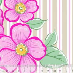 Tecido Percal 130 Fios Floral Refina - Rosa - 100% Algodão - Largura 2,45m