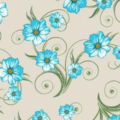 Tecido Percal 130 Fios Floral Tarde - Marfim - 100% Algodão - Largura 2,45m