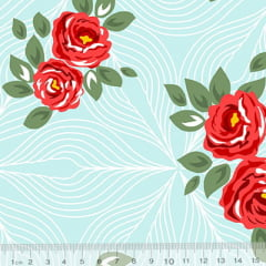 Tecido Percal 130 Fios Floral Wall - Azul - 100% Algodão - Largura 2,45m